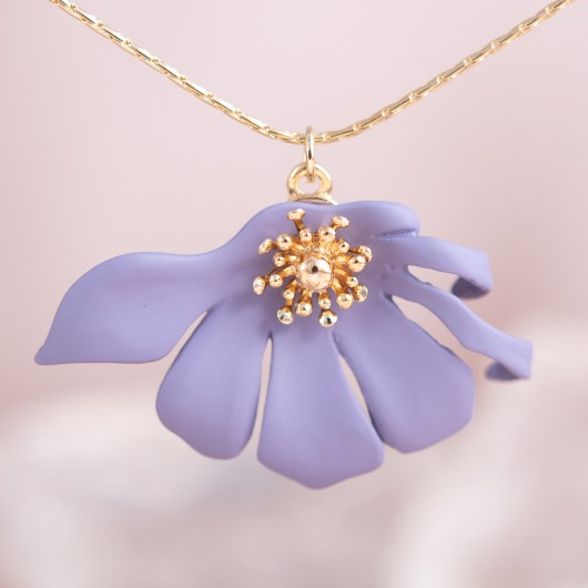 Half Flower Necklace - Lavender