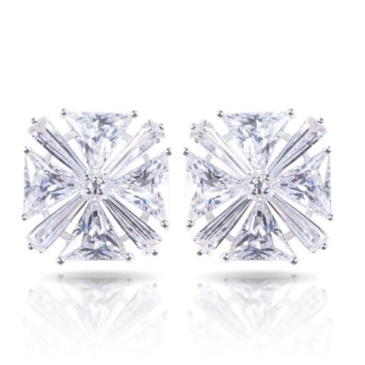 Baguette Trillion Earrings - Silver