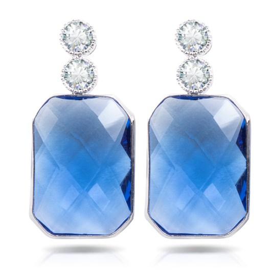 Blue Emerald Cut Crystal Drop Earrings - Silver
