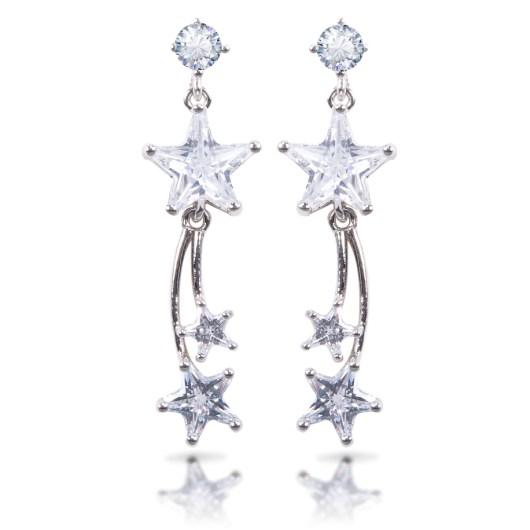 Triple Star Drop Earrings - Silver