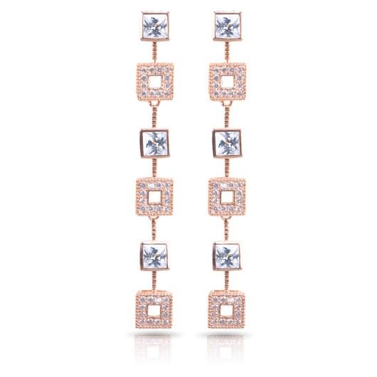 Squares Long Earrings - Rosegold