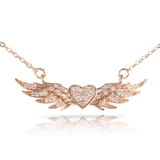 Heart With Wings Necklace - Gold