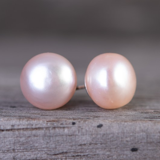 Button Stud Earrings - Natural Lavender