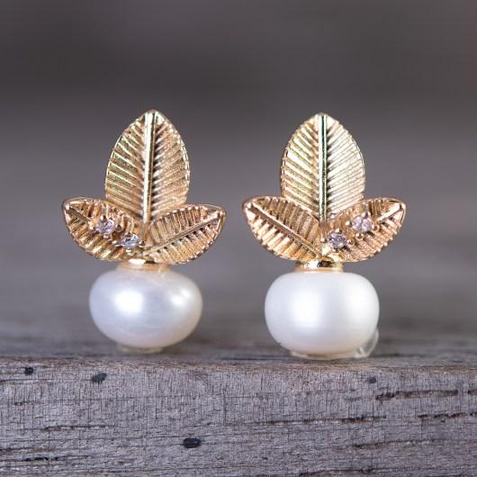 Palms Pearl Drop Earrings - Gold
