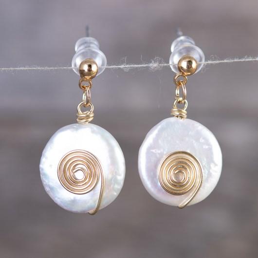 Spiral Pearl Drop Earrings - Gold