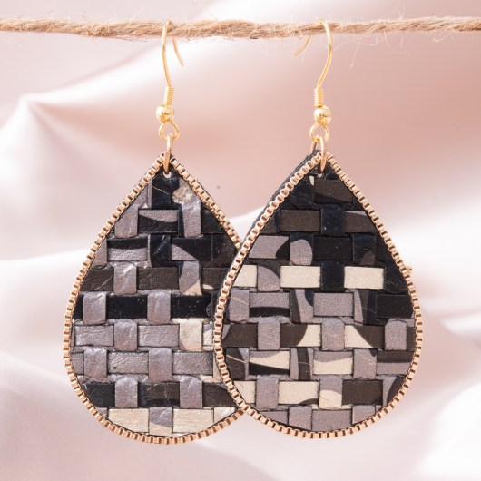 Woven Leather Teardrop Earring - Black