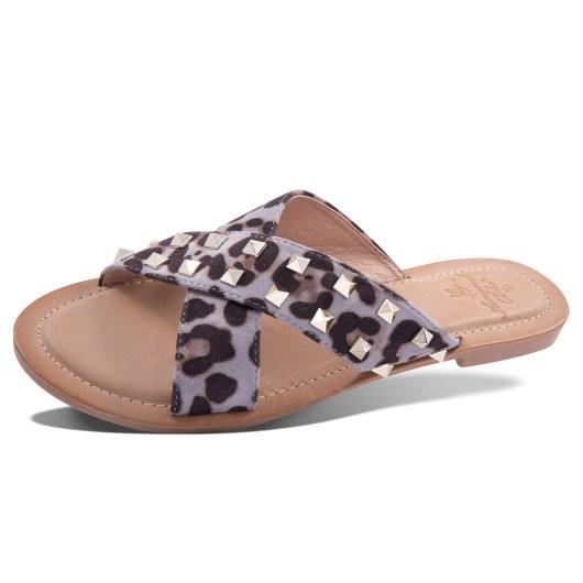 Janelle Slide Sandal - Gray Leopard