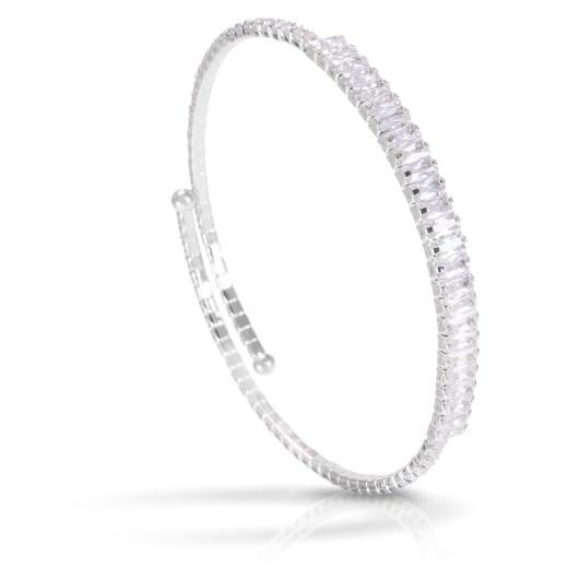 Baguette Single Spiral Bracelet - Rhodium