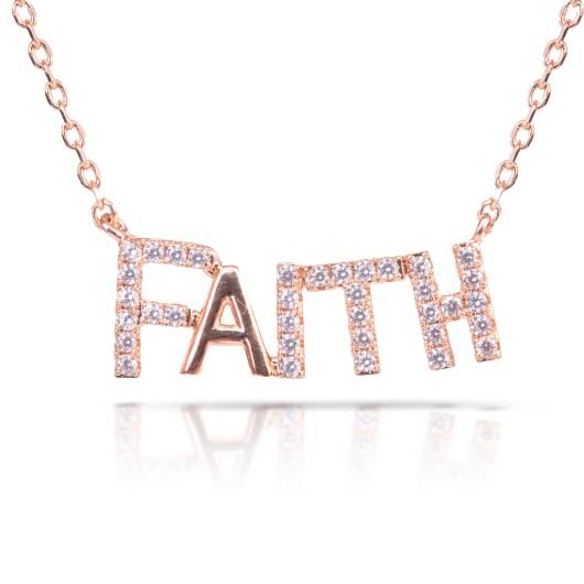 Faith Monogram Necklace - Rosegold