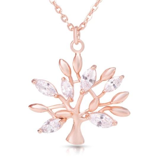 Crystal Leaf Tree Necklace - Rosegold