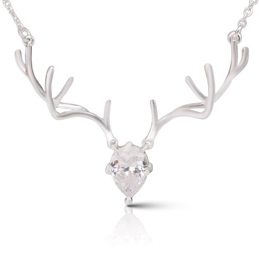 Antler Crystal Necklace - Silver