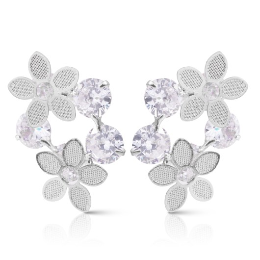 Double Flowers with Crystals Earrings - Silver