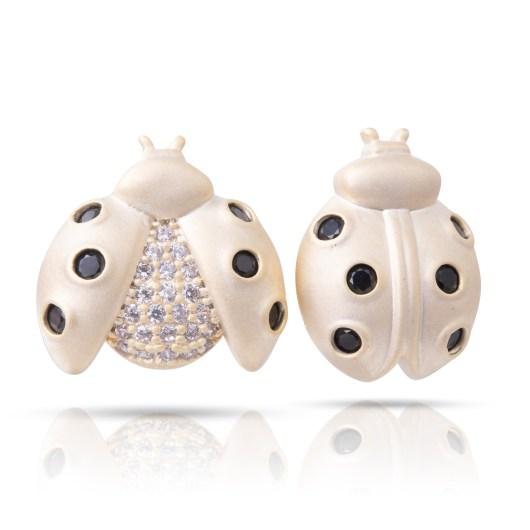 Lady Bug Earrings - Matte Gold