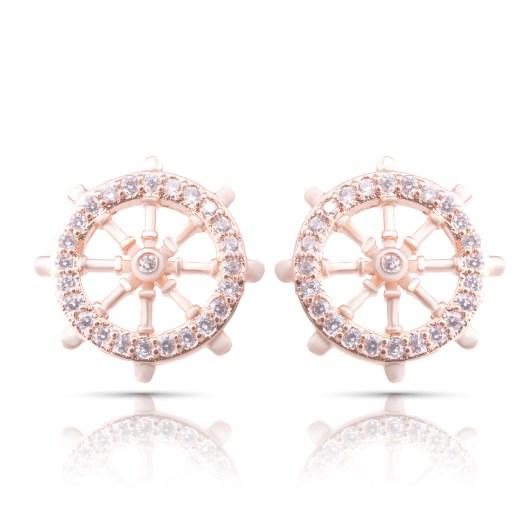 Ship Wheel Earrings - Rosegold