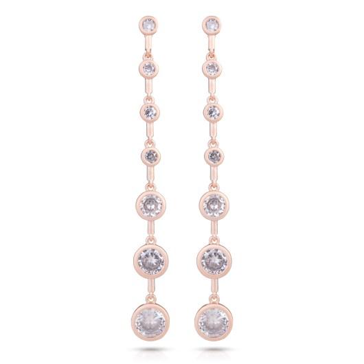 Graduated Long Earrings in Rose Gold - Matte Rosegold