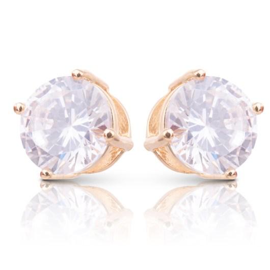 Clear CZ Stud Earrings - Gold