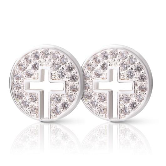Cross Halo Stud Earrings - Silver