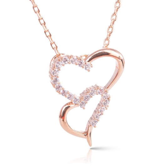 Double Heart Necklace - Rosegold