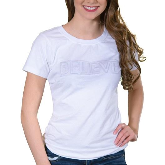 Amanda Blu Embossed T-Shirt, Believe White