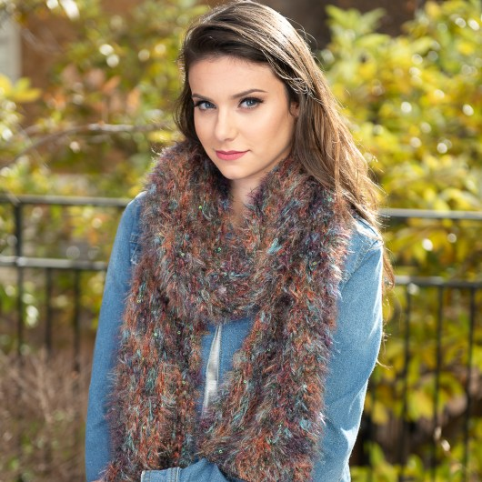 Feathered Scarf - Peacock Shimmer
