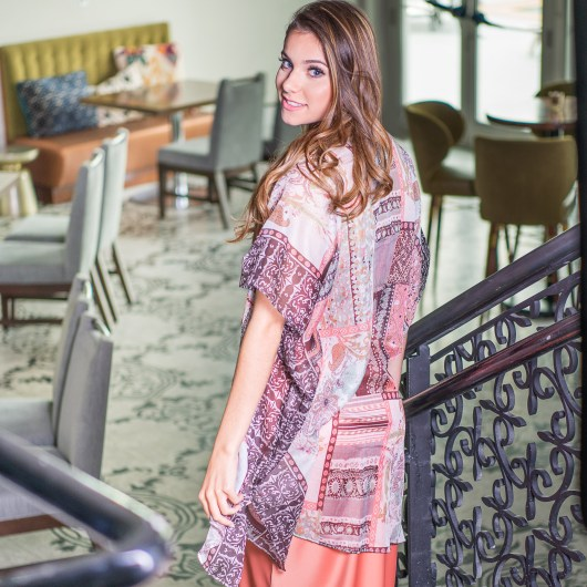 Paisley Print Kimono - Blush/Sage Sequin