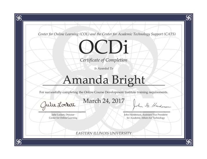 OCDi Certificate of Completion Amanda Bright