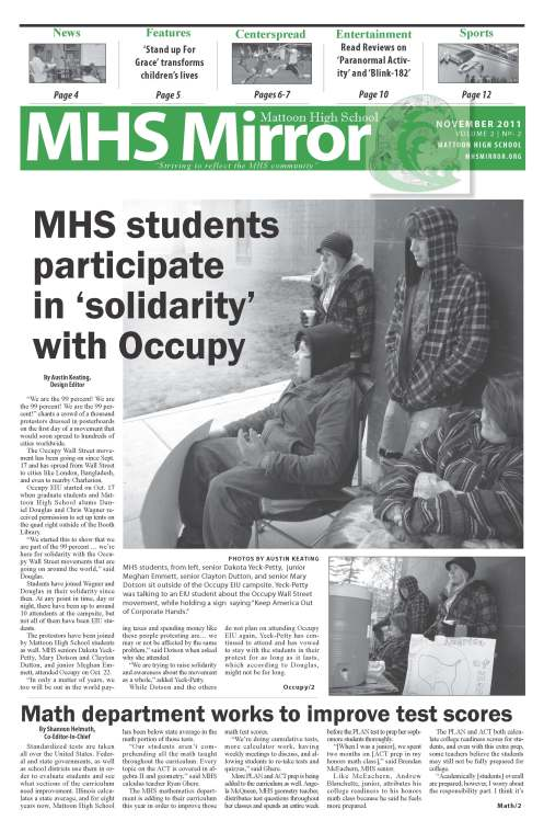 Creating the template for the MHS Mirror newspaper was a laborious process, but the design has led my staff to first-place finishes in front-page design and overall design for the past six years.