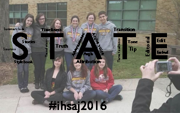 In order to bolster our followers and excitement for IHSA Journalism State, I created this logo from last year's winners.
