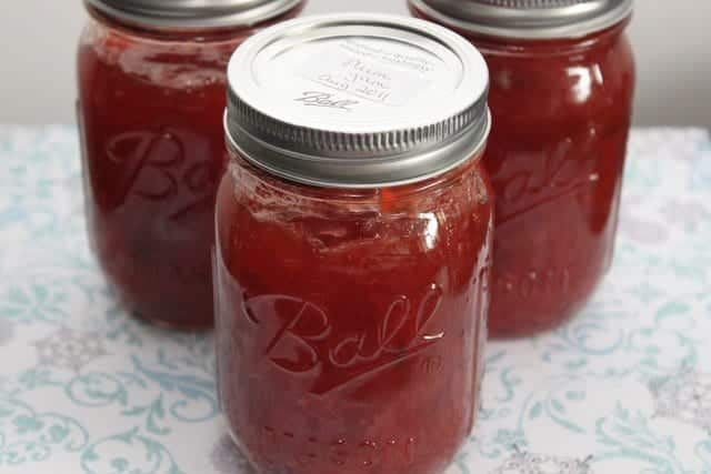 plum jam in mason jars