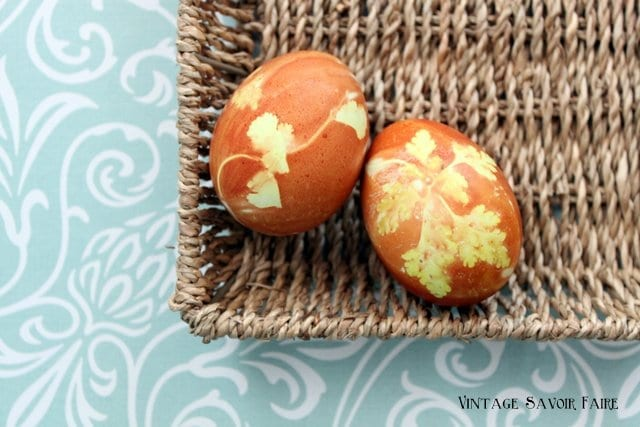 Easter eggs colored with onion skins