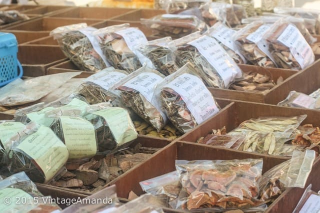 dried herbs in a Thai market