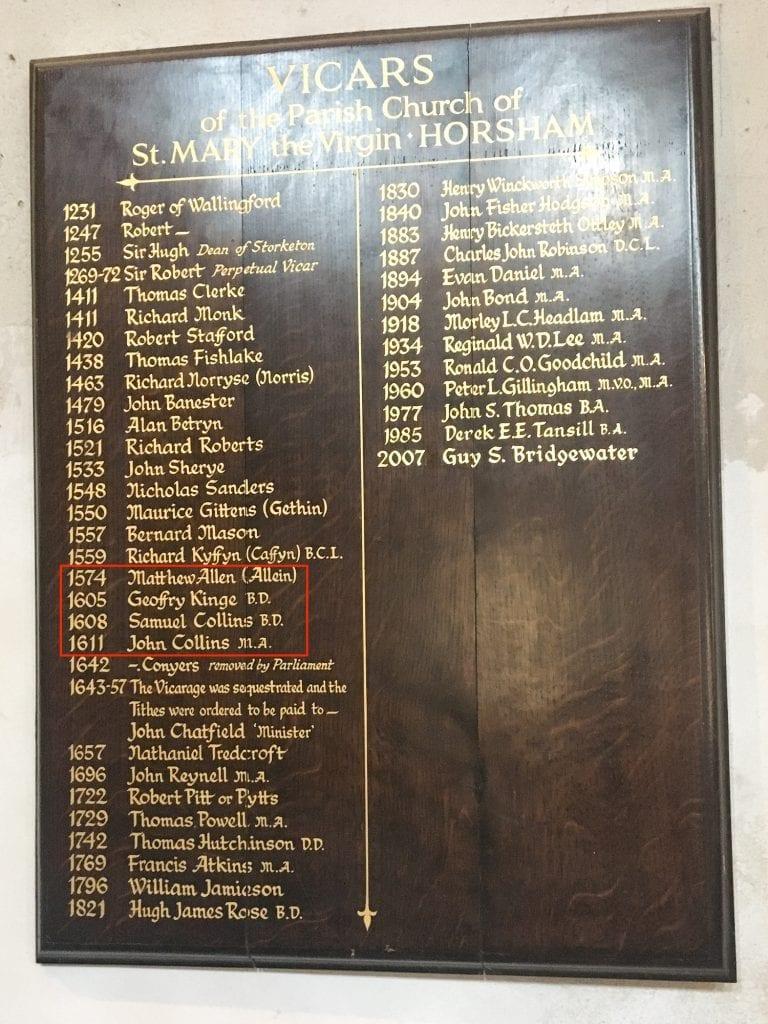 List of Vicars at St Marys Church Horsham