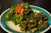 April 22, 2012. Gnocchi pesto, a little overcooked. Spinach Salad.