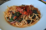 May 24, 2012. Spaghetti with Swiss Chard and tomatoes.