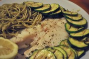 June 16, 2012. I think this is Curt's - he's much more adept at presentation than I am. Blue snapper, grilled zucchini, and pesto spaghetti.