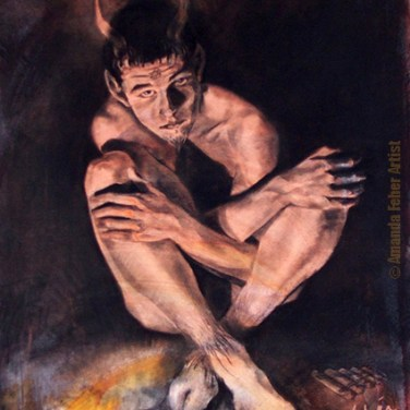 amanda_feher_acrylic_charcoal_painting_the_boy_who_wanted_to_be_pan