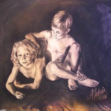 amanda_feher_painting_figurative_charcoal_sibling_virtues