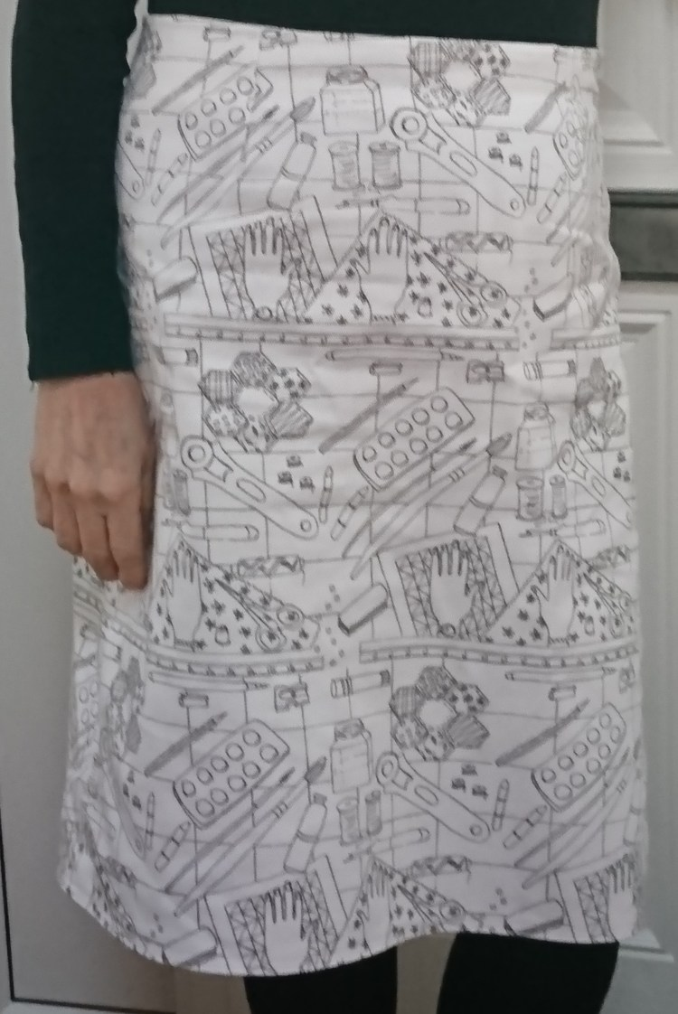 'The work of my hands' fabric, made into a skirt
