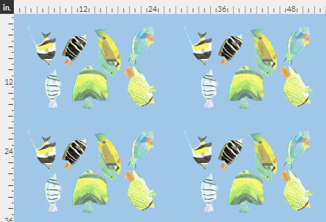 Design of tropical fish on'The Reef' tea-towel design by Amanda Jane Textiles, colourful fish on a light blue background, four sets of seven fish appear on the tea towel