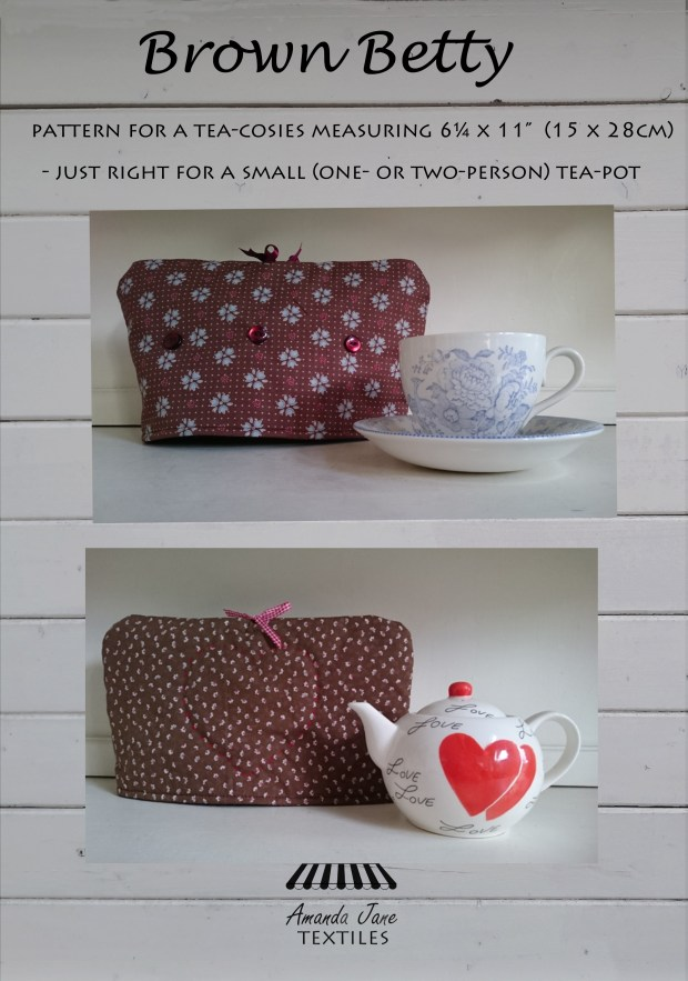 Brown Betty tea cosy pattern, cover by Amanda Jane Textiles