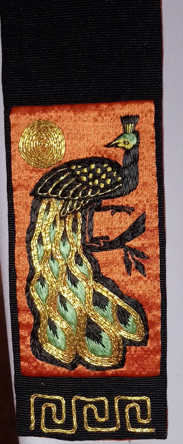 Peacock embroidery by Dame Werburg Welch, in the 'Hand in Hand' exhibition at Ushaw