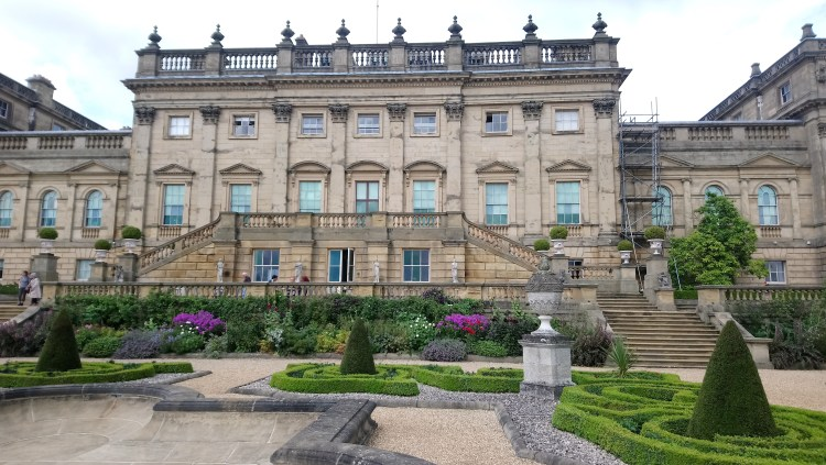 Formal gardens and terrace at the rear of Harewood House, Yorkshire