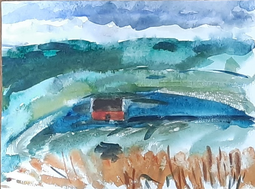 The Red House by Amanda Jane Ogden, watercolour painting