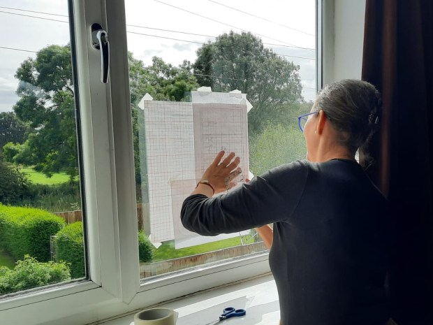 Tracing a design against a window