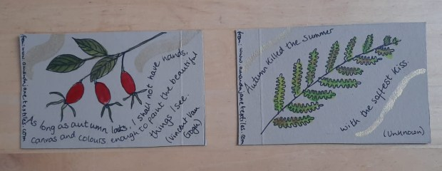 Cards made for the autumn Artists' DIY Postcard swop 2020, organised by iHanna