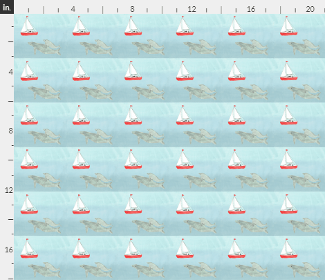 'Sails and Whales' by Amanda Jane Textiles, depicting a whale swimming in the sea and a yacht sailing on the sea