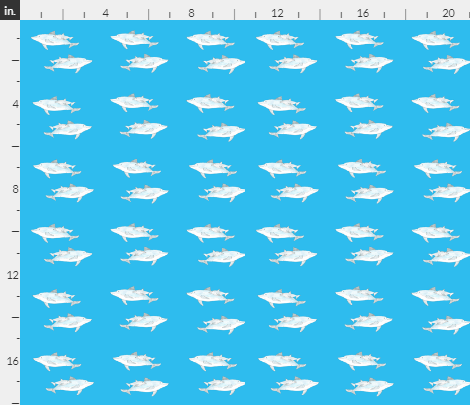'Dolphins' fabric design by Amanda Jane Textiles, a repeat pattern of a mother and baby dolphin on a blue background