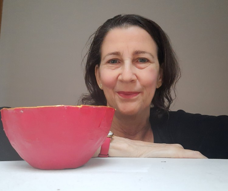Red and gold papier-mache bowl - illustratiing a course from Amanda Jane Ogden