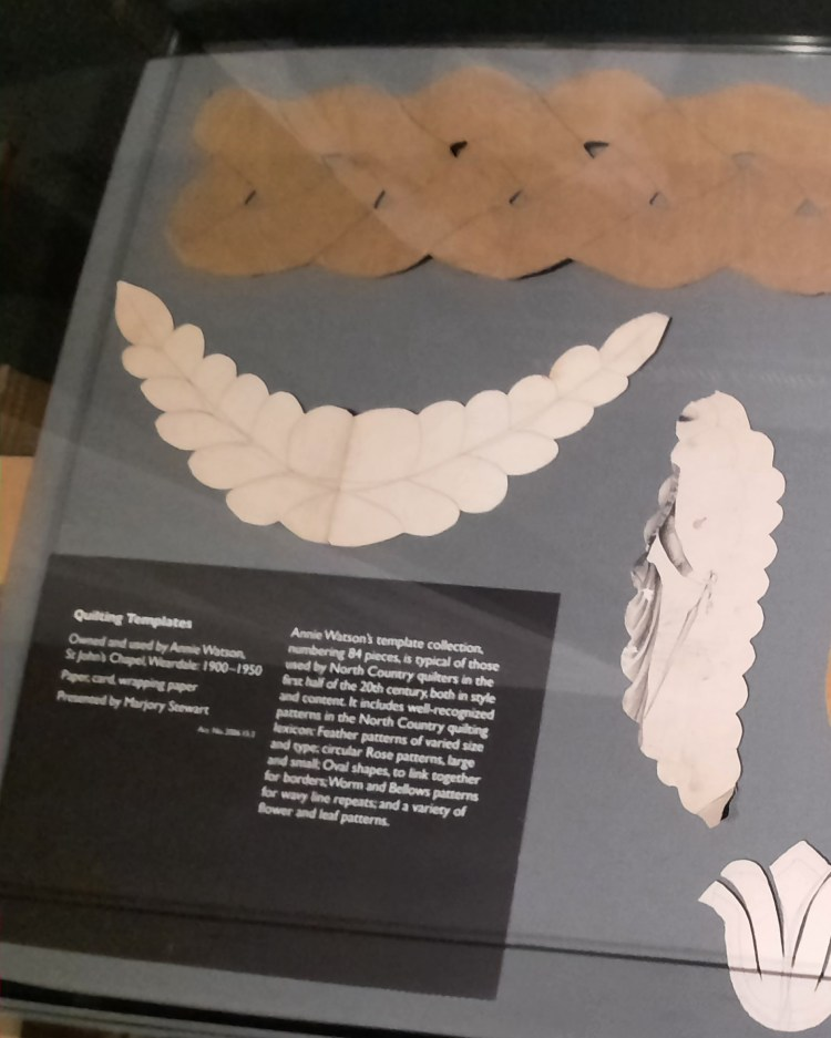 Templates used to mark out traditional patterns on North Country Quilts, shown at an exhibition at the Bowes Museum