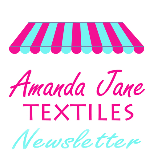 The logo for the Amanda Jane Textiles Newsletter - a pink and aqua shop awning over the words 'Amanda Jane Textiles Newsletter'